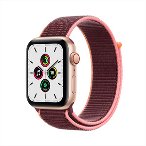 Apple Watch SE GPS + Cellular MYEY2AE/A 44mm Gold Aluminum Case with Sport Loop Plum