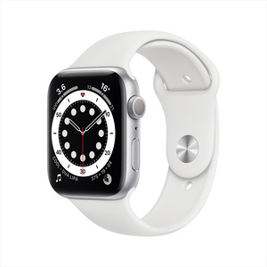 Apple Watch Series 6 GPS M00D3AE/A 44mm Silver Aluminium Case with Sport Band White