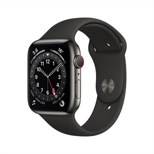 Apple Watch Series 6 GPS + Cellular M06X3AE/A 40mm Graphite Stainless Steel Case with Sport Band Black