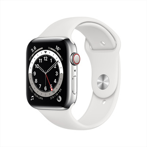 Apple Watch Series 6 GPS + Cellular M09D3AE/A 44mm Silver Stainless Steel Case with Sport Band White