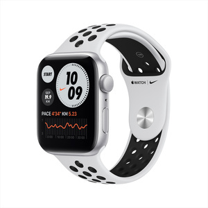 Apple Watch SE Nike GPS MYYH2AE/A 44mm Silver Aluminum Case with Sport Band Pure Platinum/Black
