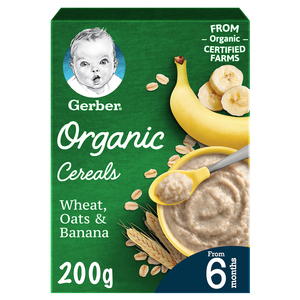 Gerber Organic Cereals Baby Food Wheat Oats & Banana From 6 Months 200g
