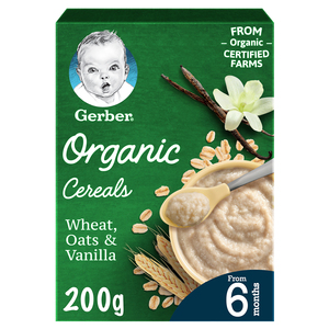 Gerber Organic Cereals Baby Food Wheat Oats & Vanilla From 6 Months 200g