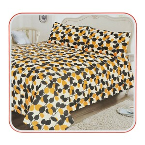 Red Berry Bed Sheet + 2pcs Pillow Cover King 240x260cm Yellow