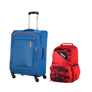 American Tourister Duncan 4Wheel Soft Trolley 55cm Blue + Back Pack (Assorted)