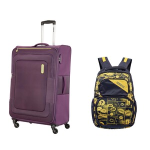 American Tourister Duncan 4Wheel Soft Trolley 55cm Purple + Back Pack (Assorted)