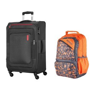 American Tourister Duncan 4Wheel Soft Trolley 55cm Black + Back Pack (Assorted)