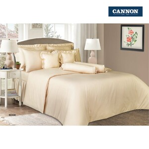 Cannon Fitted Sheet + Pillow Cover Plain Single Size 120x200cm Beige