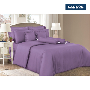 Cannon Fitted Sheet + Pillow Cover Plain Single Size 120x200cm Violet