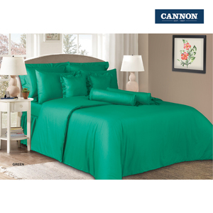 Cannon Fitted Sheet + Pillow Cover Plain Single Size 120x200cm Green
