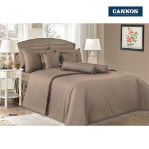 Cannon Bed Sheet + 2pcs Pillow Cover Plain King Size 274x259cm Brown