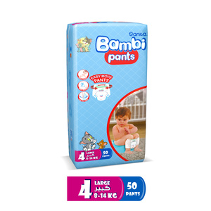 Bambi Diaper Pants Size 4 Large 8-14kg 50pcs
