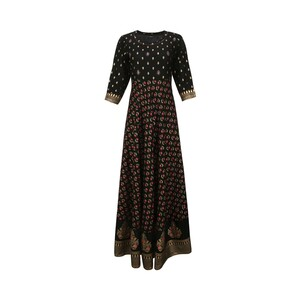 Vesh Women's Reyon Long Flair Kurti Full Sleeve RYNLNGBLK ( 38)