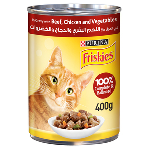 Purina Friskies Wet Cat Food Beef Chicken and Vegetables in Gravy 400g