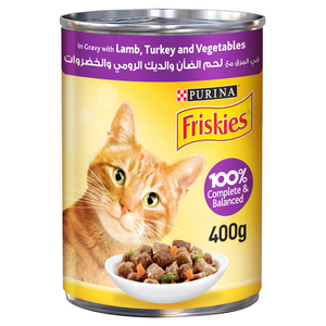 Purina Friskies Wet Cat Food Lamb, Turkey and Vegetables In Gravy 400g