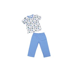 Eten Infants Boys Pyjama Set Short Sleeve White Blue SCCIBPSS08
