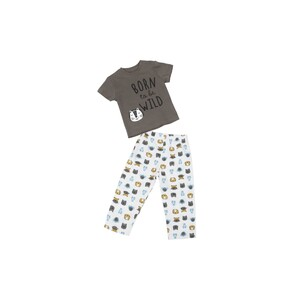 Eten Infants Boys Pyjama Set Short Sleeve Grey White SCCIBPSS04