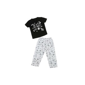 Eten Infants Boys Pyjama Set Short Sleeve Black Ecru SCCIBPSS03J
