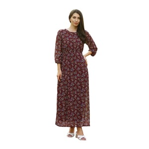 Debackers Women's Long Dress ARB-4 Burgundy, Medium