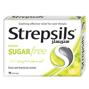 Strepsils Sore Throat Relief Lemon Sugar Free 16pcs