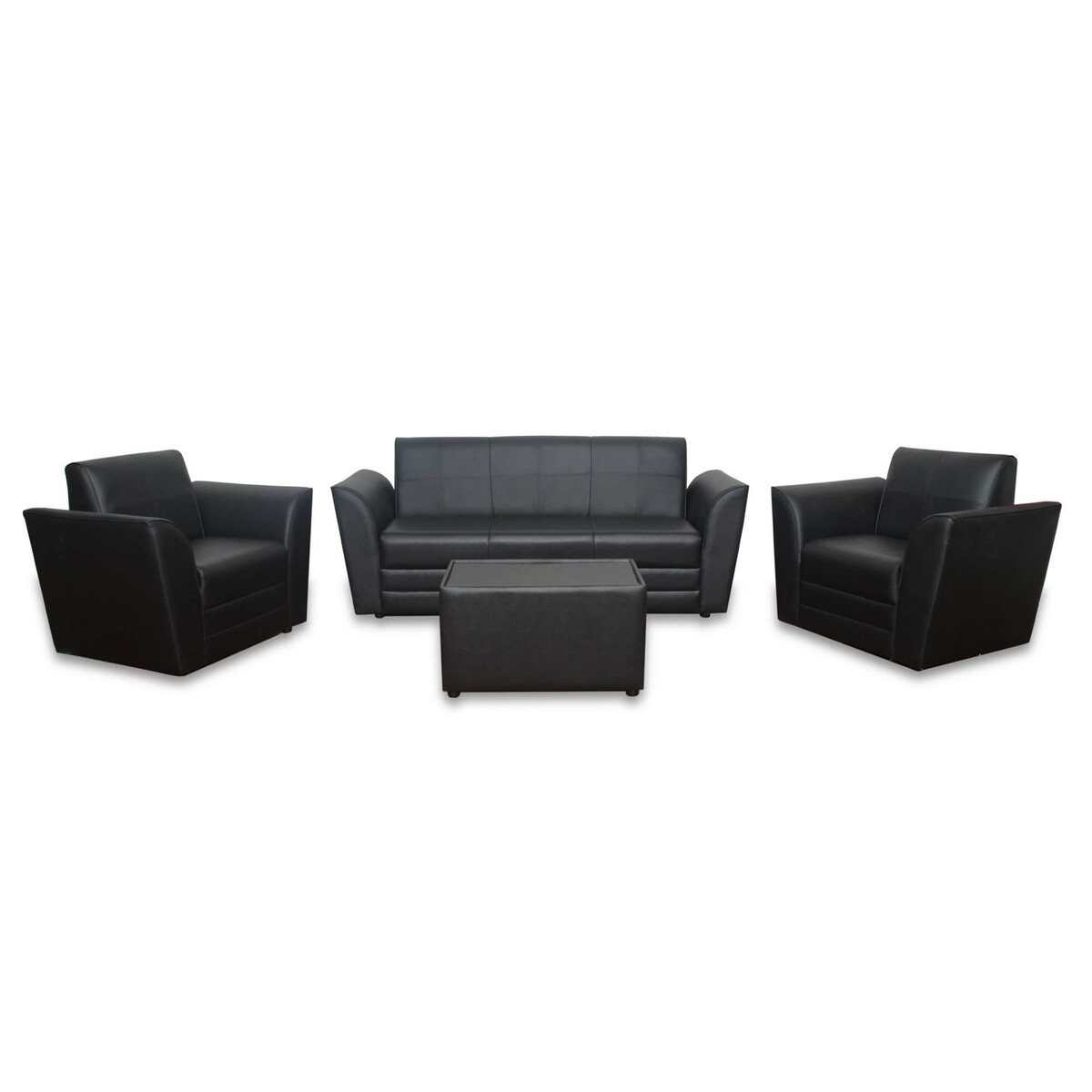 Design Plus PVC Sofa Set 5 Seater (3+1+1) SPR03 Black