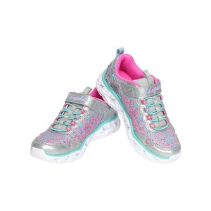 Skechers Girls Sport Shoes W/Light 10920L Silver Multi