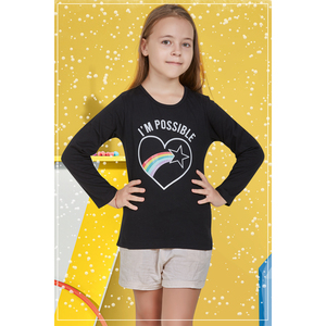 Eten Girls Graphic T-Shirt GTLS001 Black