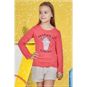 Eten Girls Graphic T-Shirt GTLS004 Coral