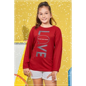 Eten Girls Graphic T-Shirt GTLS007 Dark Red