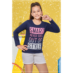 Eten Girls Graphic T-Shirt GTLS011 Navy