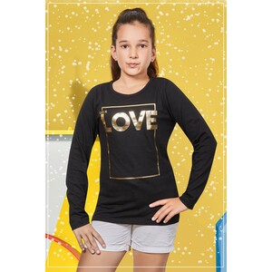 Eten Girls Graphic T-Shirt GTLS012 Black