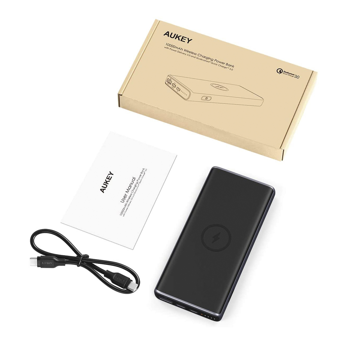 Aukey PB-Y32 18W PD QC 3.0 10000mAh Power Bank with Wireless Charging