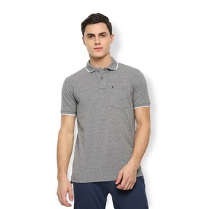 Van Heusen Men's Polo T Shirt Short Sleeve VSKWLRGBU86227 Grey