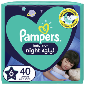 Pampers Baby-Dry Night Diapers Size 6, 14+kg 40pcs