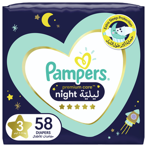 Pampers Premium Care Night Diapers Size 3, 7-11kg 58pcs