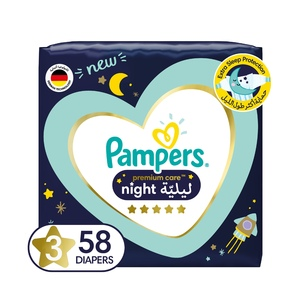 Pampers Premium Care Night Diapers Size 3 7-11kg 58pcs