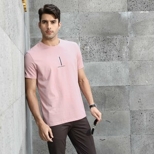 Marco Donateli Men's Round Neck T Shirt Short Sleeve 17056 Pink