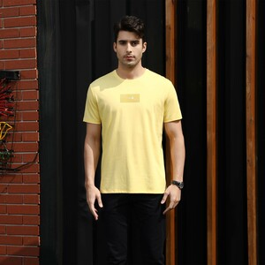 Marco Donateli Men's Round Neck T Shirt Short Sleeve 17053 Yellow