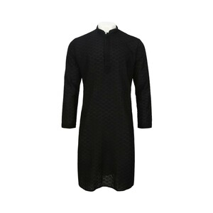 Men's Long Sleeve Kurta Black L1198A4A