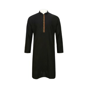 Men's Long Sleeve Kurta Black L519LK14B