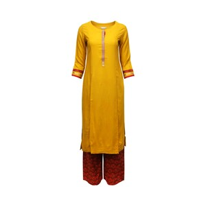 Eten Womens Kurtha Plazzo Set Long Sleeve SS08 Mustard