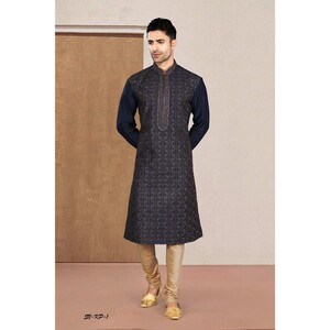 Men's Kurta Pyjama Set Blue SVKP-1