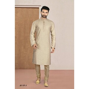 Men's Kurta Pyjama Set Brown SVKP-3