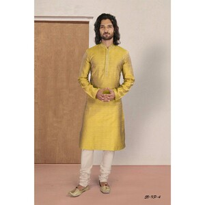 Men's Kurta Pyjama Set Yellow SVKP-4