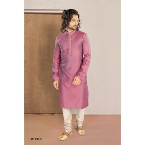 Men's Kurta Pyjama Set Pink SVKP-5