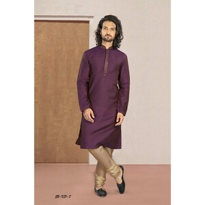 Men's Kurta Pyjama Set Purple SVKP-7