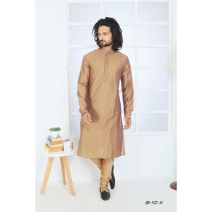 Men's Kurta Pyjama Set Brown SVKP-10