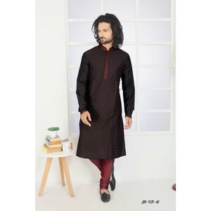 Men's Kurta Pyjama Set Black SVKP-12