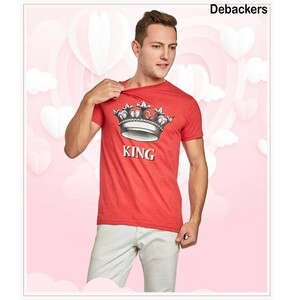 Debackers Men's Couple Round Neck T-Shirt Short Sleeve, King