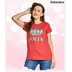 Debackers Womens Couple Roud Neck T Shirt Short Sleeve, Queen